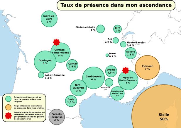 Répartition de mes origines par départements/régions